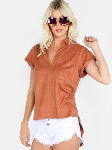 Hi Lo Faux Suede Pocket Top BRICK