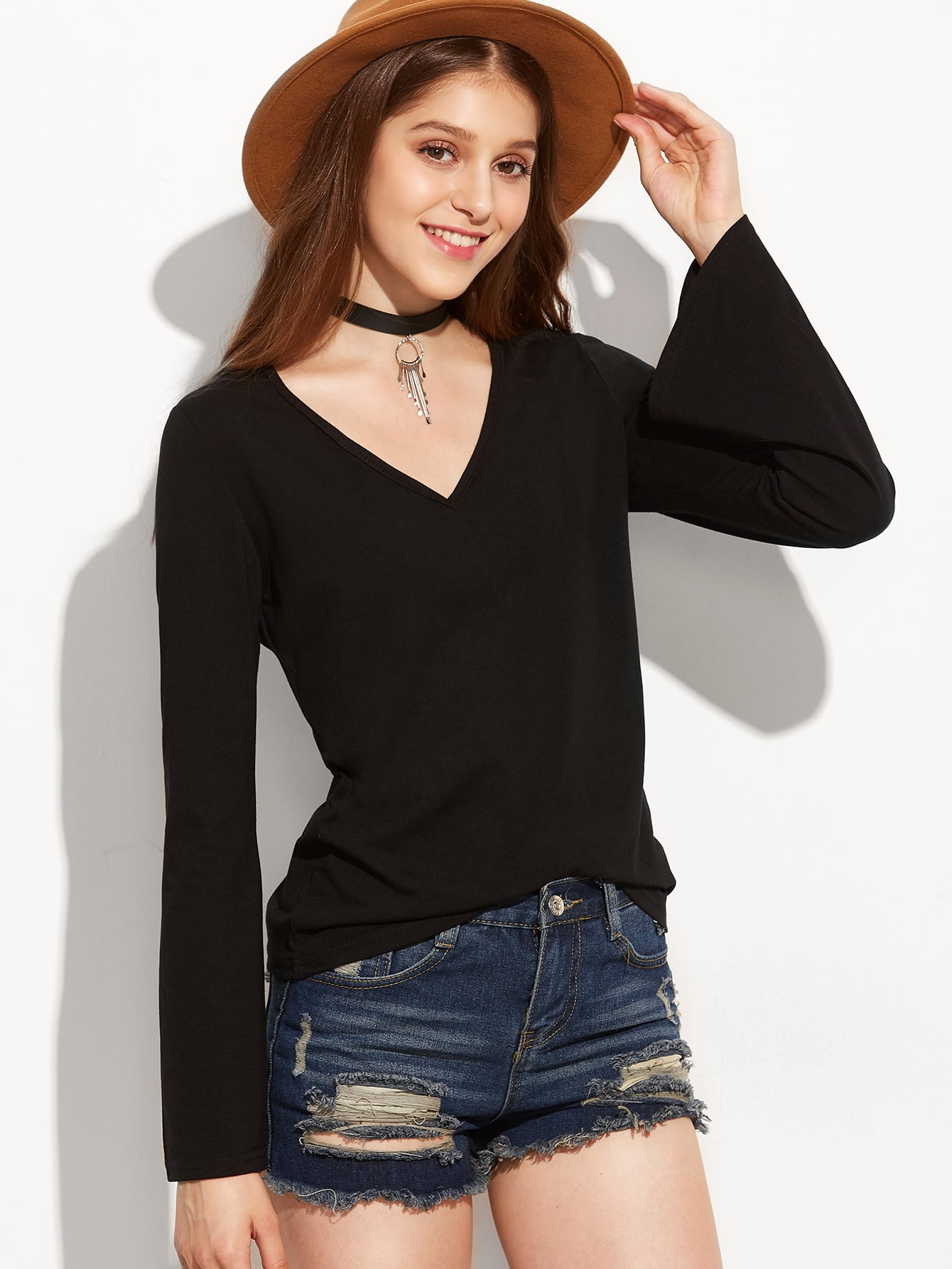 Black V Neck Bell Sleeve T Shirt Shein Sheinside