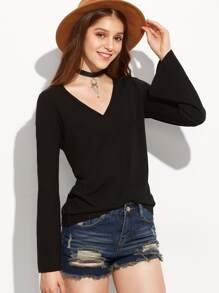 Black V Neck Bell Sleeve T-shirt