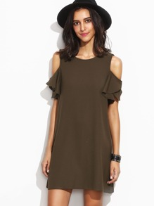 Army Green Cold Shoulder T-shirt Dress