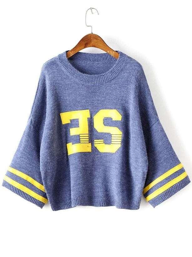 Blue Varsity Drop Shoulder Ribbed Trim Sweater sweater160812211