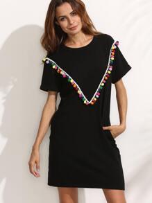 Black with colorful Pom-pom Trim Short Sleeve Dress