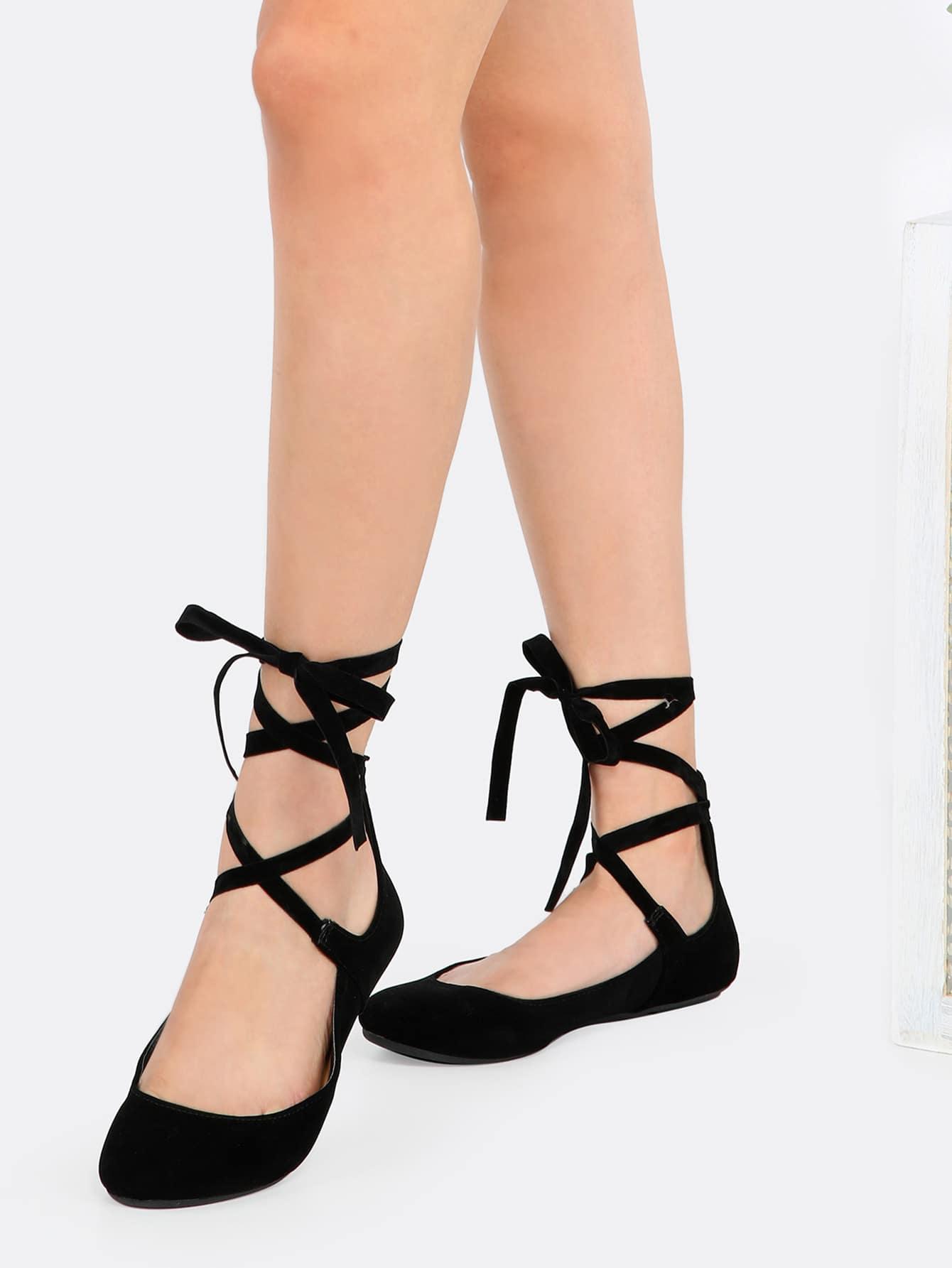 tie up toe ballet flats black shein sheinside