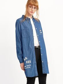 Blue Letter Print Single Breasted Long Denim Coat