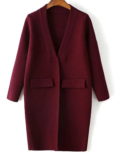 Burgundy Ribbed Neck Hidden Button Loose Cardigan With Fake Pockets sweater160831216