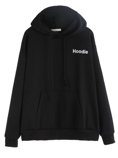 Black Letters Print Pocket Hooded Sweatshirt