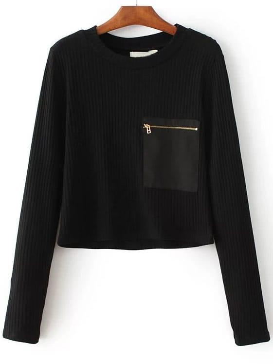 Zipper Pocket Ribbed Knit Sweater sweater160808204