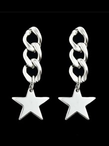 Silver Color Long Chain Star Pendant Earrings