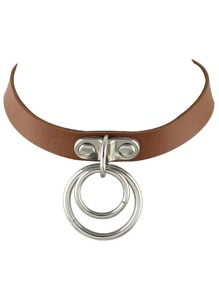 Brown Adjustable Pu Leather Choker Collar Necklace