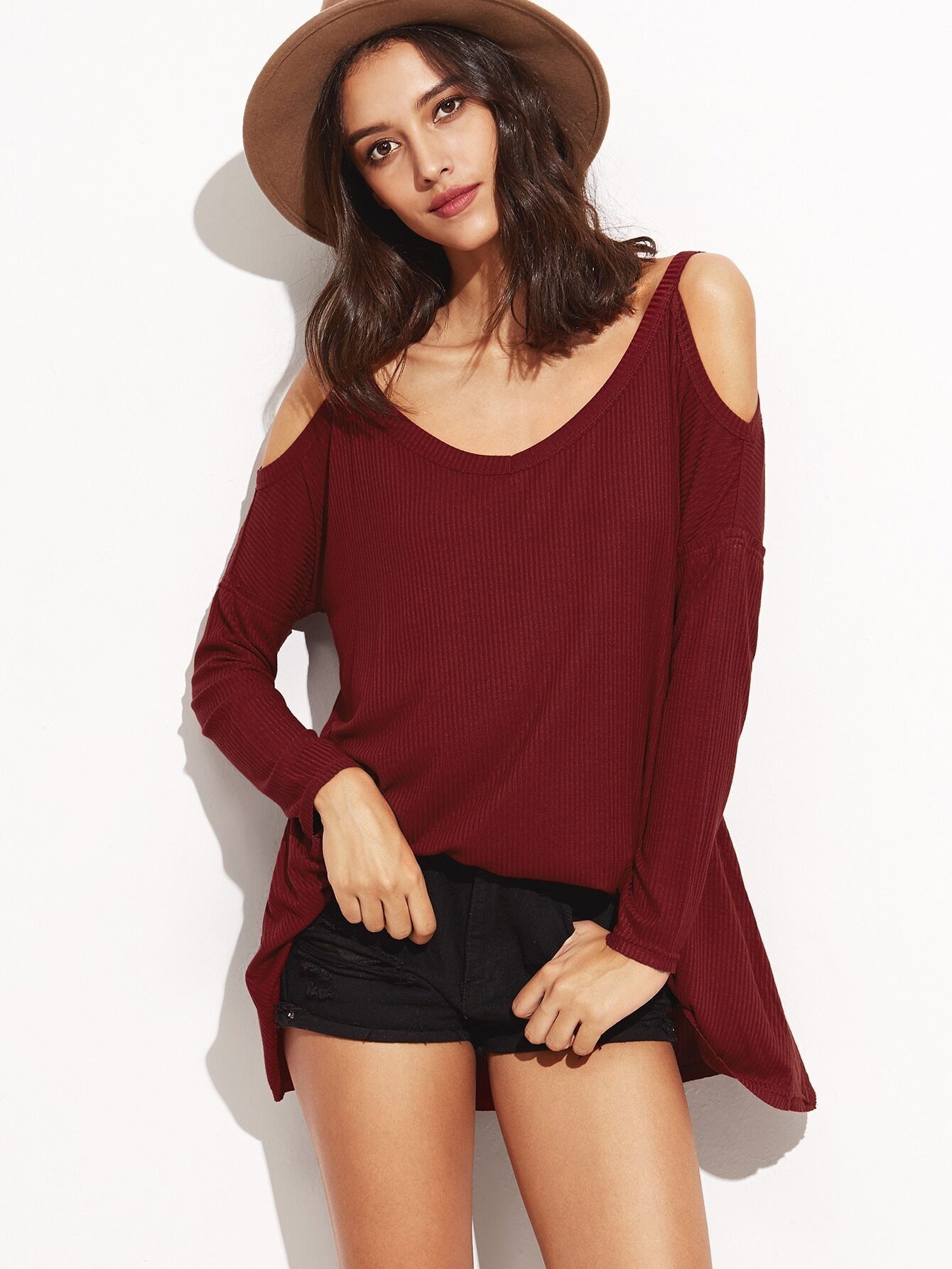 Burgundy Cold Shoulder Ribbed Swing T-shirt tee160830706
