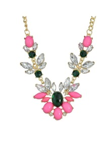 Colorful Rhinestone Shourouk Necklace