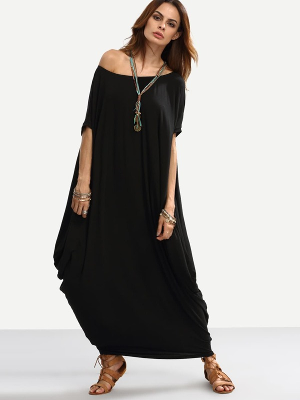 Dolman sleeve long black dress