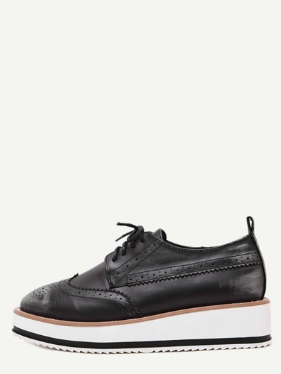 Silver Wingtips Faux Leather Platform Oxford Shoes
