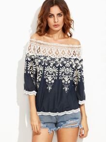 Off The Shoulder Contrast Crochet Embroidered Top