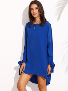 Tie Cuff Long Sleeve High Low Dress