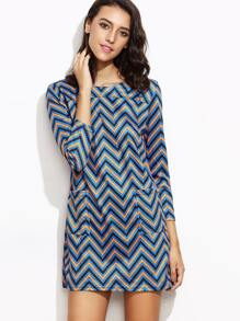 Navy Chevron Pattern Pockets Dress
