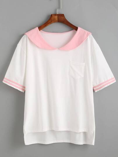 White Contrast Sailor Collar High Low T-shirt