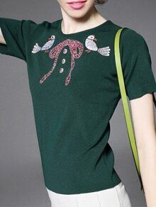 Green Birds Embroidered Bowknot Beading Knit Sweatshirt