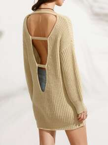 Cut Out Low Back Dropped Shoulder Sweater