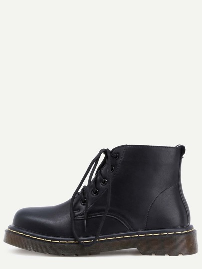 Black Round Toe Lace Up Ankle Boots