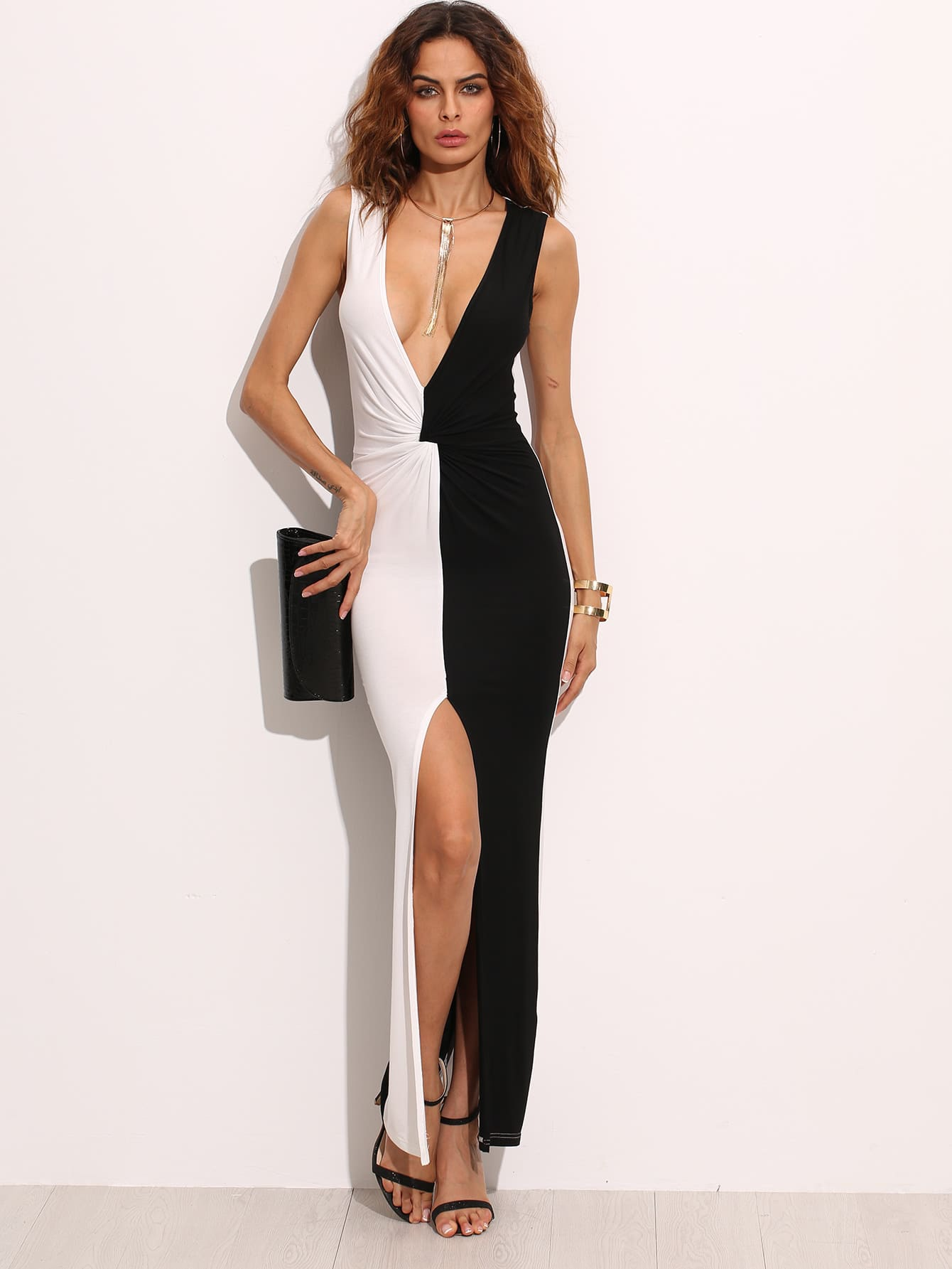 Two Tone Plunge Neckline Twist Front Slit Maxi Dress two tone letter print full length dress