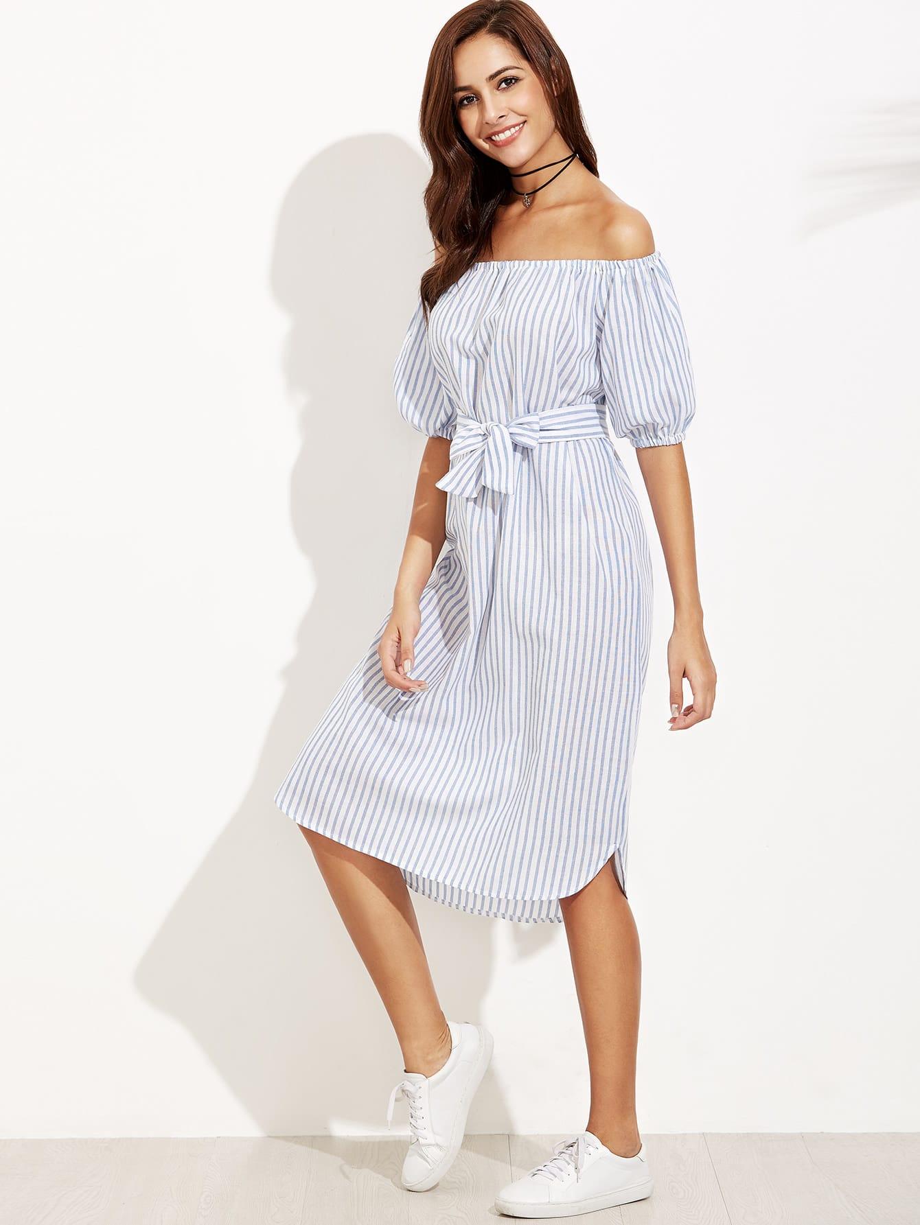 Купить Сине-белое полосатое платье с открытыми плечами с поясом, Giulia, SheIn