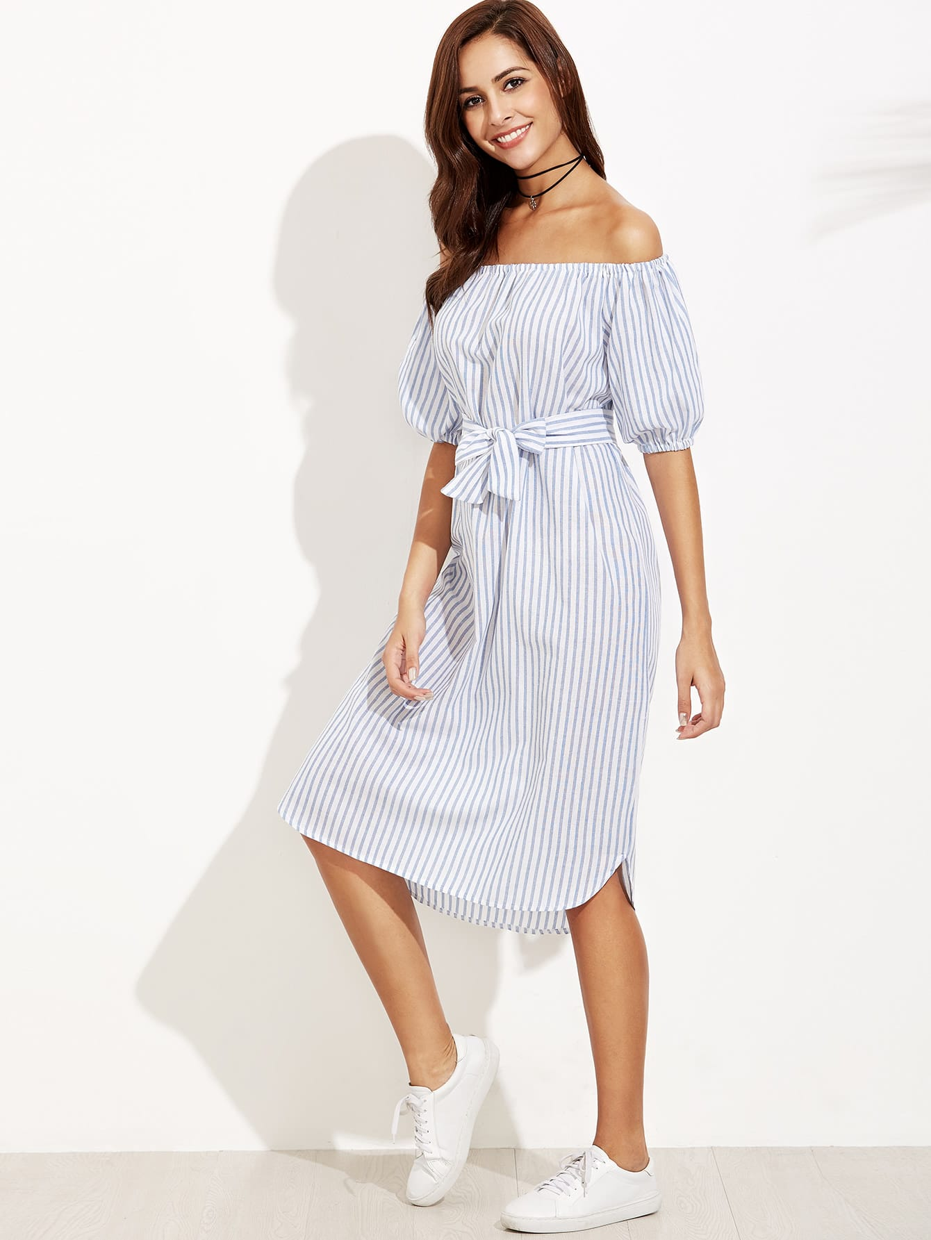 Vertical Striped Bardot Bow Tie Dress