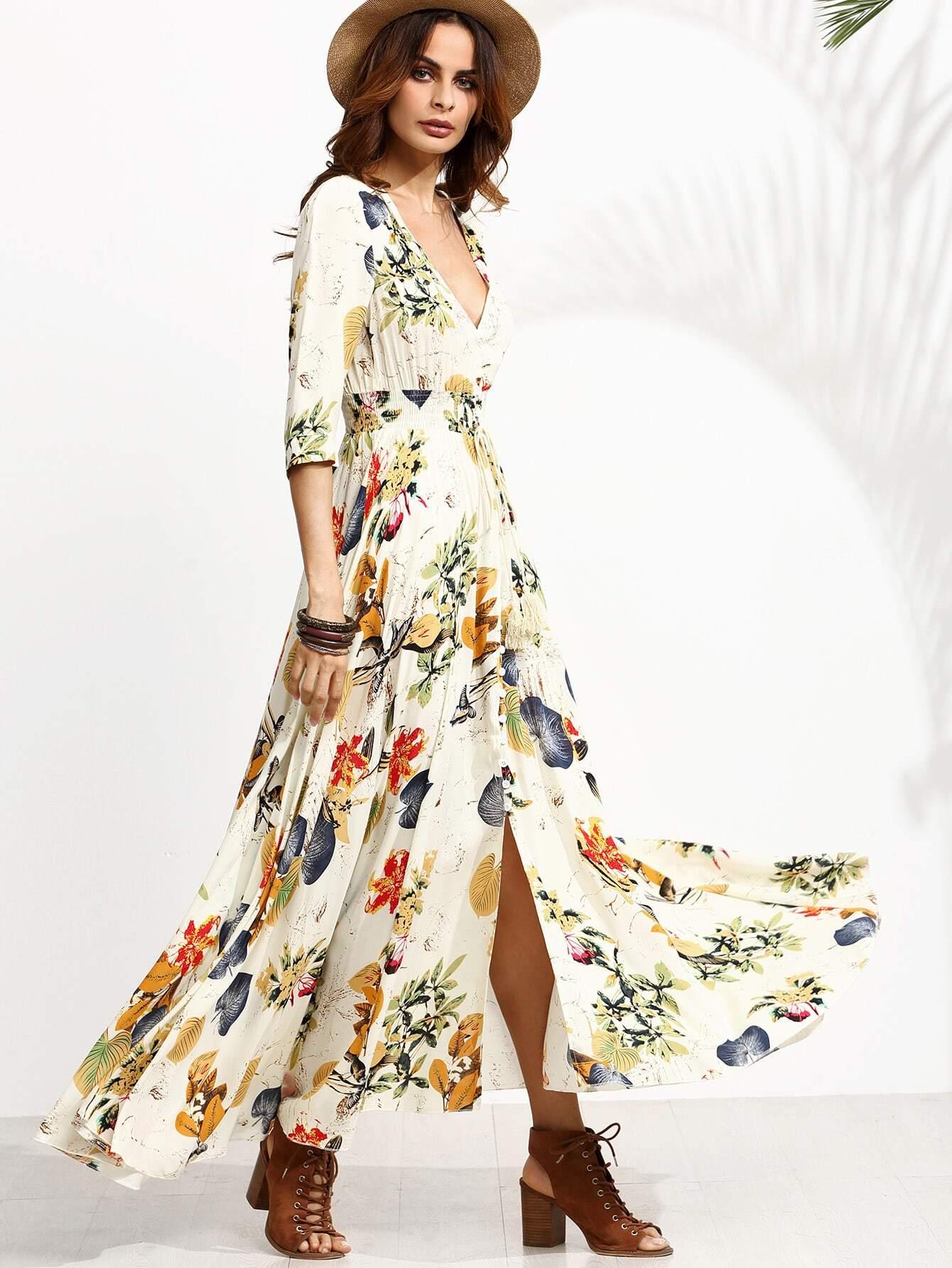 все цены на Jungle Print Plunge Neck Drawstring Button Front Maxi Dress