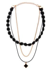 Black Clover Pendant Layered Lace Choker Necklace