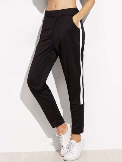 Black Stripe Side Pocket Pants