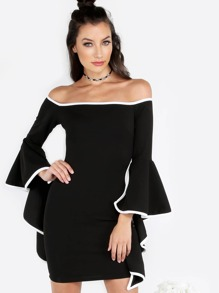 Open Shoulder Ruffled Sleeve Mini Dress BLACK