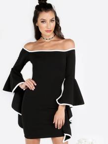 Contrast Trim Bardot Asymmetrical Ruffled Sleeve Mini Dress