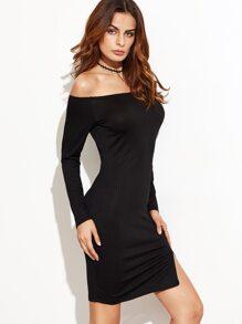 Black Off The Shoulder Slit Hem Ribbed Dress