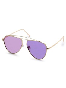 Gold Metal Frame Purple Lens Aviator Sunglasses