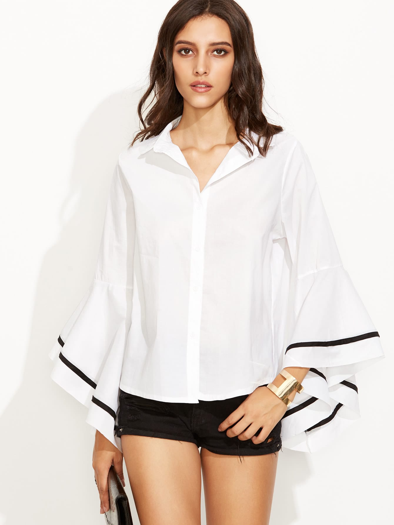 White Contrast Trim Bell Sleeve Shirt blouse160812102