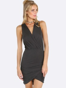 Front Wrap Scrunched Dress CHARCOAL