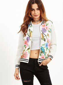 White Floral Print Striped Hem Baseball Jacket