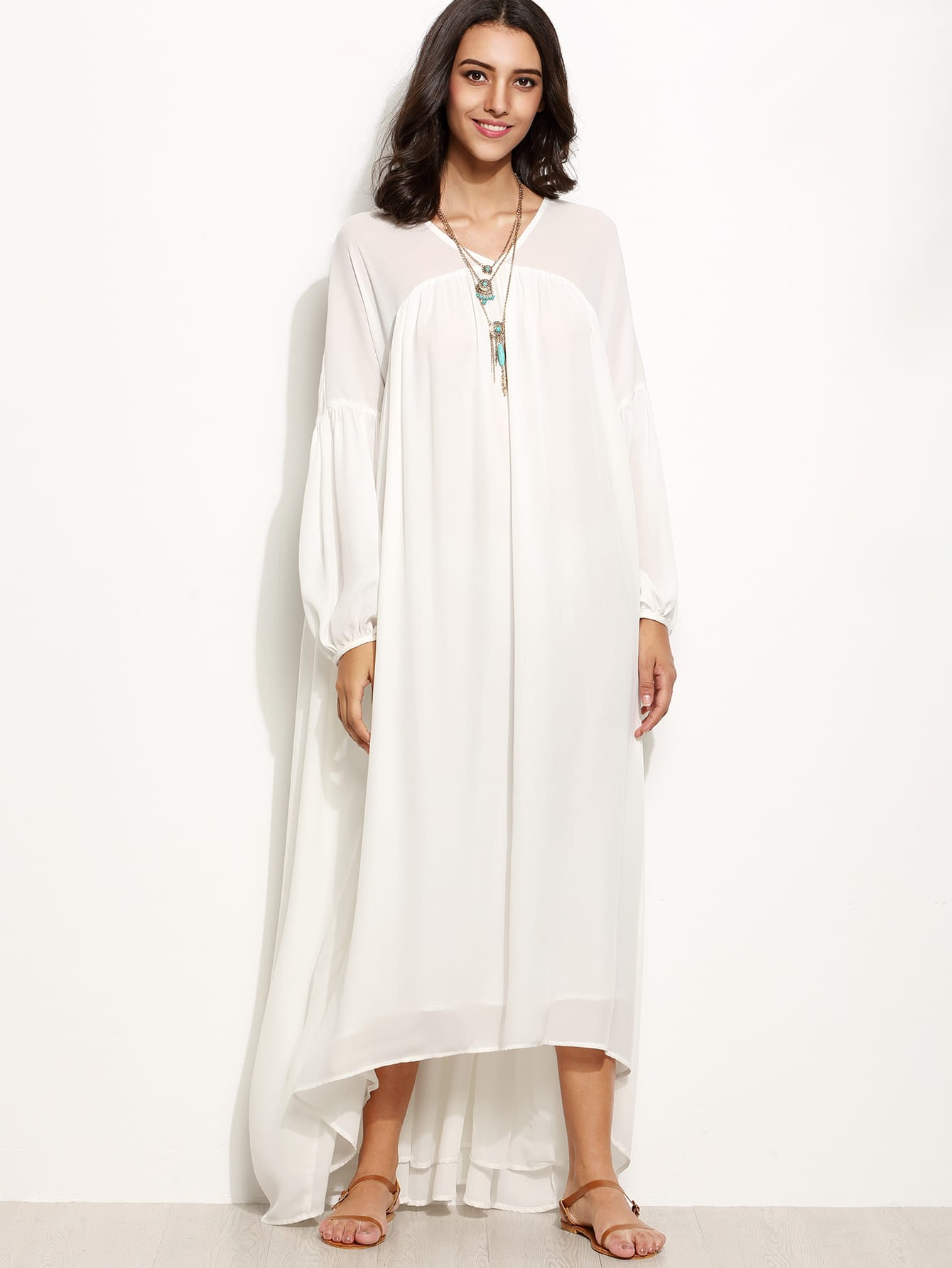 Фото White Lantern Sleeve High Low Tent Dress. Купить с доставкой