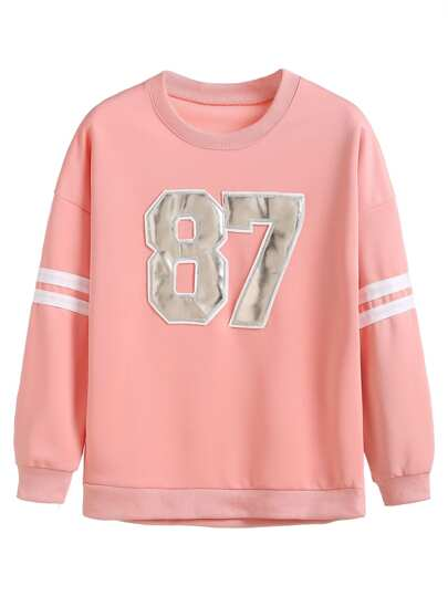 Pink Numbers Patch Varsity Sweatshirt