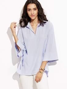 Blue Vertical Striped Kimono Sleeve Boxy Blouse