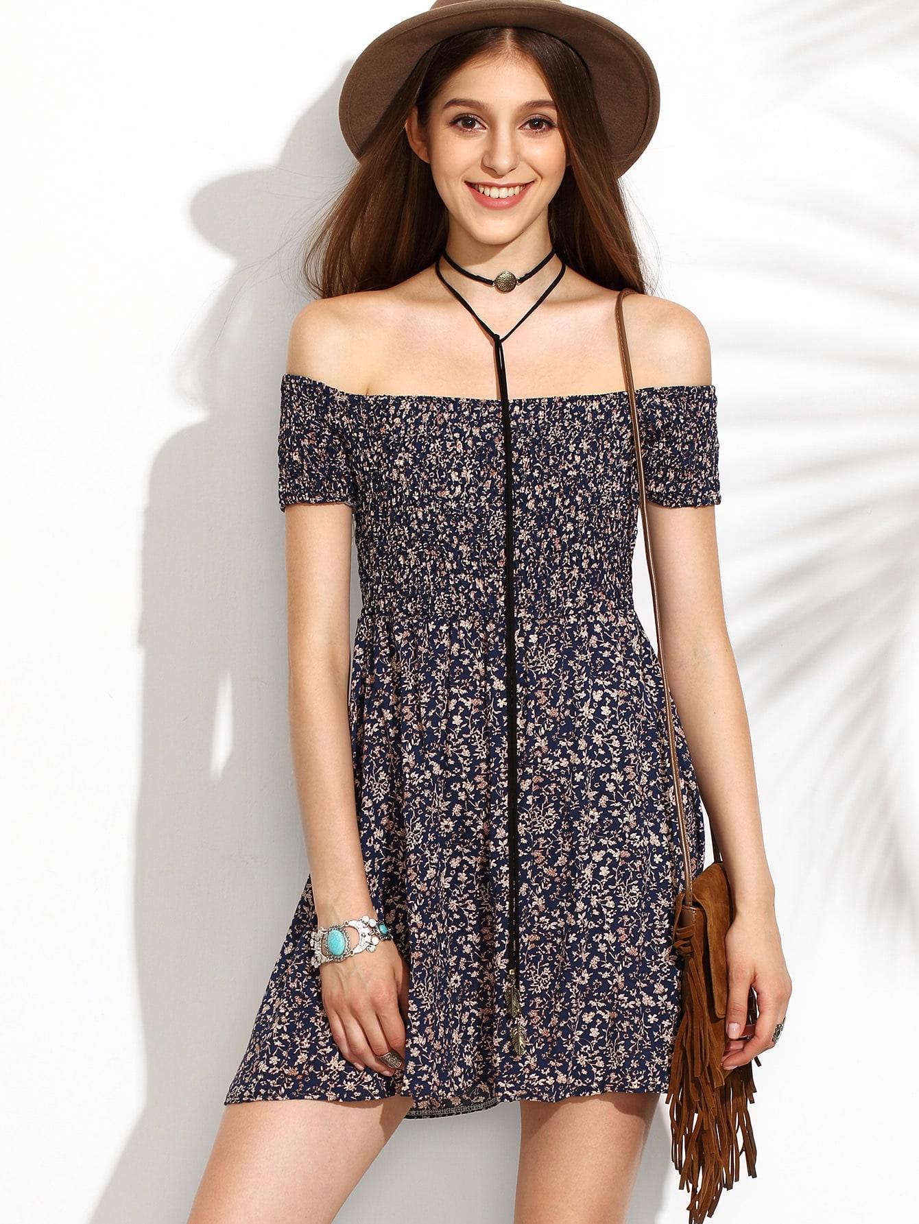 Calico Print Bardot Neckline Flare Dress bardot neckline scallop hem dress