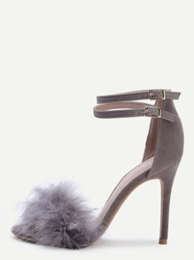Single Sole Feather High Heels GREY