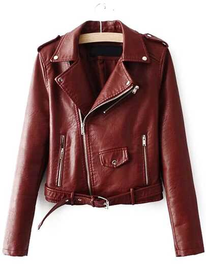Faux Leather Buckle Belt Hem Moto Jacket