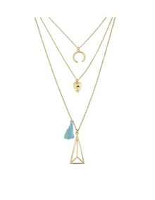 Gold Plated Multilayers Pendant Necklace