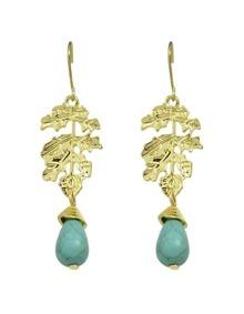 Leaf Shape Turquoise Dangle Earrings