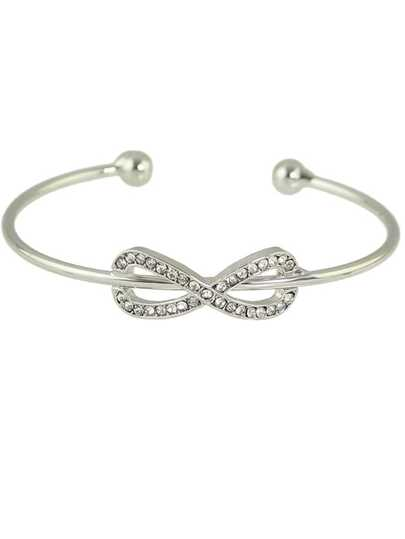Silver New Rhinestone Bowknot Shape Cuff Bracelet