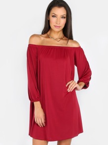 Satin Off The Shoulder Shift Dress BURGUNDY