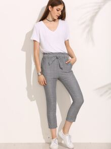 Grey Striped Tie Waist Pants