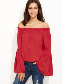 Red Tiered Bell Sleeve Off The Shoulder Top