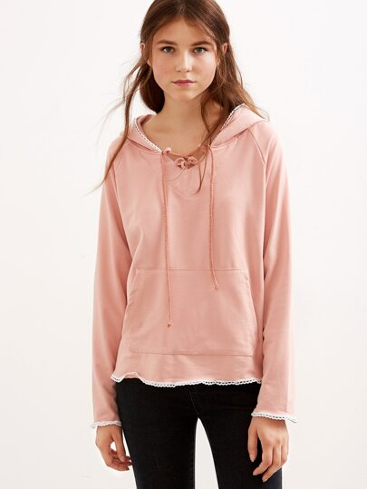 Pink Lace Up Crochet Trim Hooded Sweatshirt